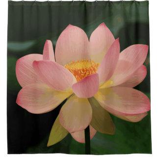 Cortina Para Chuveiro Flor de Lotus tropical verde luxúria do rosa de