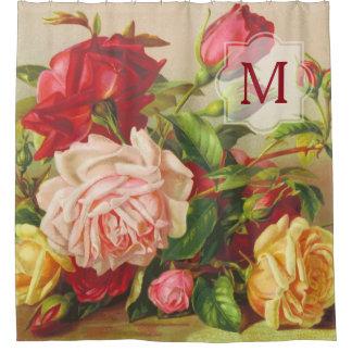 Cortina Para Chuveiro Flores do buquê dos rosas do Victorian do vintage