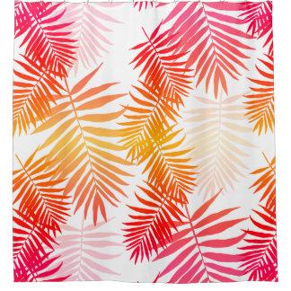 Cortina Para Chuveiro Folha da palmeira da decoração das mulheres em