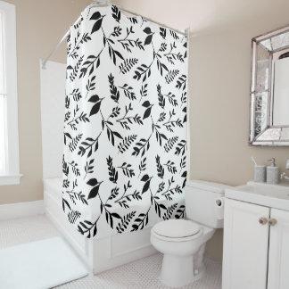 Cortina Para Chuveiro Folhas preto e branco abstratas modernas de