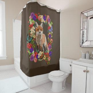 Cortina Para Chuveiro Fox floral do Victorian & cortina de chá da