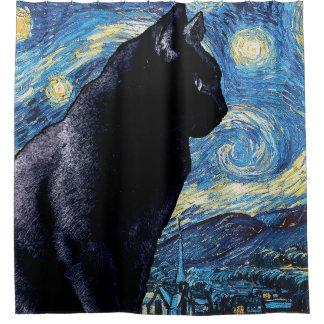 Cortina Para Chuveiro Gato no peitoril da janela:  Noite estrelado