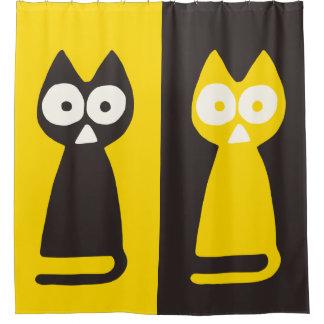 Cortina Para Chuveiro Gato simbólico do triângulo preto amarelo