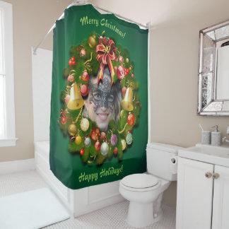Cortina Para Chuveiro Grinalda do Natal personalizada com sua foto para