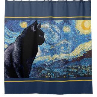 Cortina Para Chuveiro Guarda noturno: Gato em uma noite estrelado