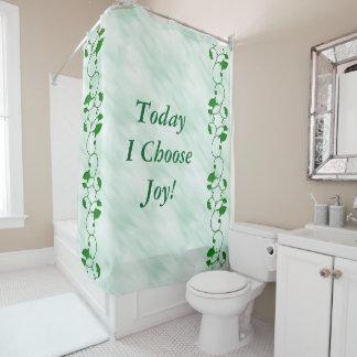 Cortina Para Chuveiro Hoje eu escolho as folhas positivas do verde das
