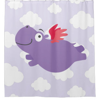 Cortina Para Chuveiro Ilustração do hipopótamo do vôo
