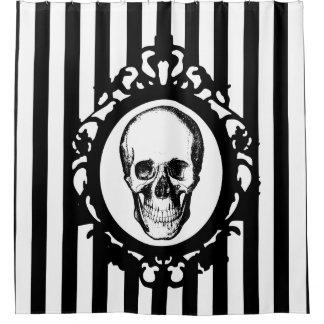 Cortina Para Chuveiro Impressão preto & branco do cameo do Victorian do
