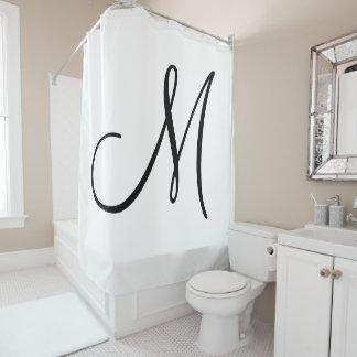 Cortina Para Chuveiro Inicial branca do preto elegante do monograma do