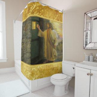 Cortina Para Chuveiro Jesus em sua porta com um design da folha de ouro