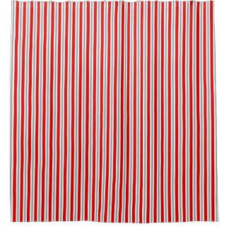 Cortina Para Chuveiro Listras do verão - branco vermelho escuro e