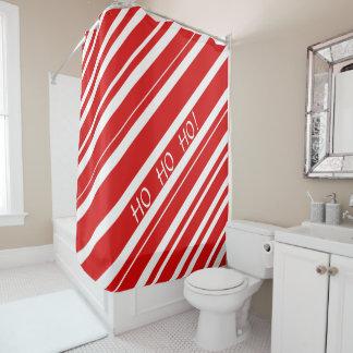 Cortina Para Chuveiro Listras vermelhas e brancas HO HO HO! Cortina de