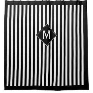 Cortina Para Chuveiro Listras verticais & monograma pretos & brancos do