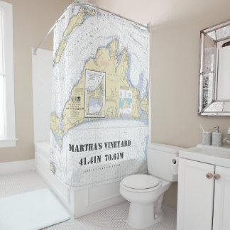 Cortina Para Chuveiro Longitude da latitude do Martha's Vineyard náutica
