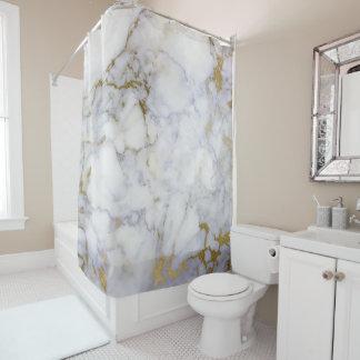 Cortina Para Chuveiro Lux cinzento branco de Carrara do ouro do abstrato