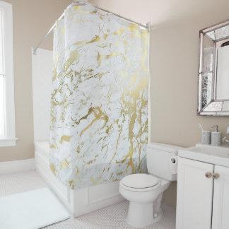 Cortina Para Chuveiro Luxo branco do ouro de Carrara do abstrato de