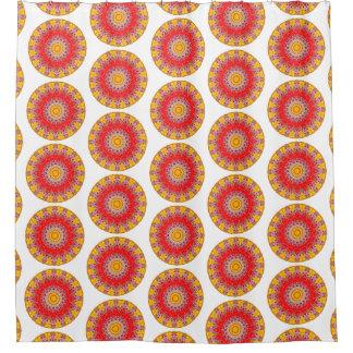 Cortina Para Chuveiro Mandala redonda amarela e vermelha de Boho