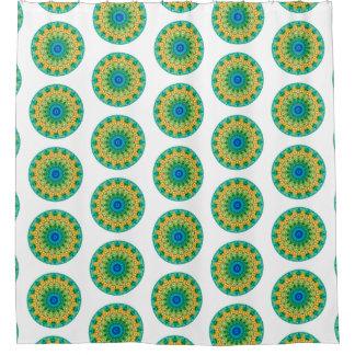 Cortina Para Chuveiro Mandala tropical azul, verde, & amarelo (impressão