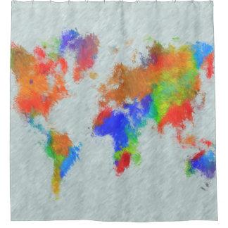 Cortina Para Chuveiro Mapa do mundo do design 78