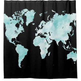 Cortina Para Chuveiro Mapa do mundo preto do azul do aqua do design 72