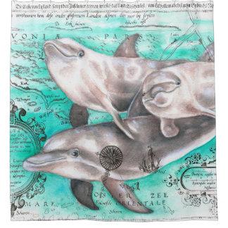 Cortina Para Chuveiro Mapa do vintage do vagem dos golfinhos