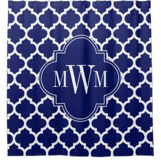 Cortina Para Chuveiro Monograma branco dos azuis marinhos 3I do