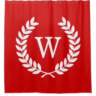 Cortina Para Chuveiro Monograma branco vermelho da inicial da grinalda