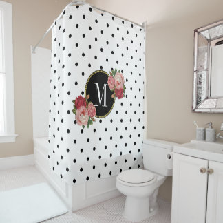 Cortina Para Chuveiro Monograma floral da antiguidade branca preta à