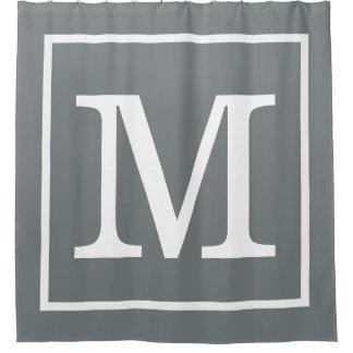 Cortina Para Chuveiro Monograma inicial quadro do XL do branco cinzento