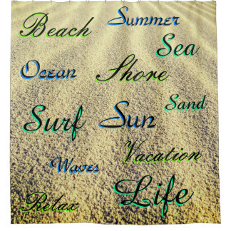 Cortina Para Chuveiro Muitas palavras de Templated sobre a areia da