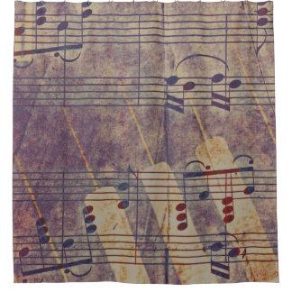 Cortina Para Chuveiro Música, olhar B do vintage