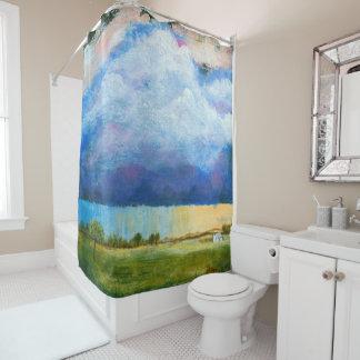 Cortina Para Chuveiro Nuvens de tempestade da chuva da casa da pintura