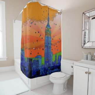 Cortina Para Chuveiro NYC psicadélico: Empire State Building #3