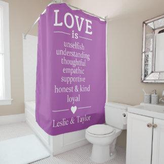 Cortina Para Chuveiro O amor é… nomes feitos sob encomenda & cortina de