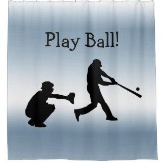 Cortina Para Chuveiro O azul da bola do jogo ostenta a cortina de chá do