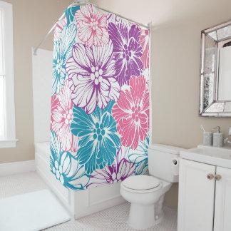 Cortina Para Chuveiro O hibiscus havaiano floral floresce o roxo