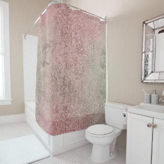Cortina Para Chuveiro O rosa cor-de-rosa do ouro da hortelã de vidro