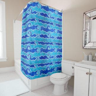 Cortina Para Chuveiro Ondas do azul do Aqua