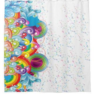 Cortina Para Chuveiro Ondas e bolhas coloridas do gráfico
