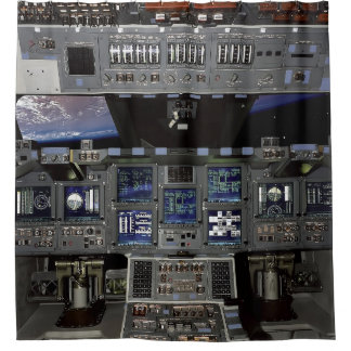 Cortina Para Chuveiro Opinião da janela da órbita de terra da cabina do