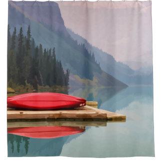 Cortina Para Chuveiro Paisagem calma da canoa vermelha do lago mountain