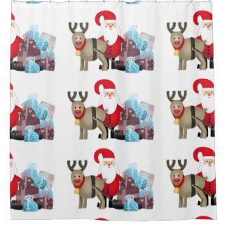 Cortina Para Chuveiro Papai noel & sua rena com presentes