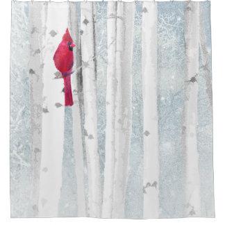 Cortina Para Chuveiro Pássaro cardinal vermelho na árvore de vidoeiro