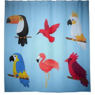 Cortina Para Chuveiro Pássaros tropicais
