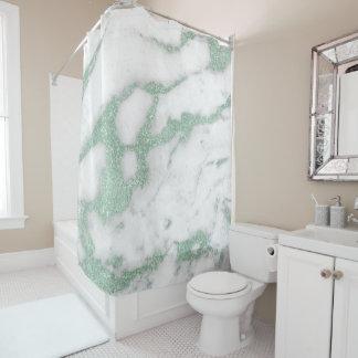 Cortina Para Chuveiro Pastel cinzento branco do verde da hortelã do