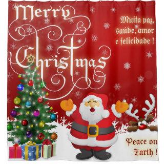 Cortina Para Chuveiro Paz do Feliz Natal na terra