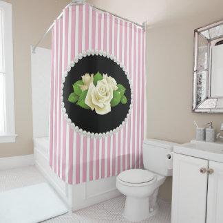 Cortina Para Chuveiro Pérolas listradas cor-de-rosa elegantes & rosas