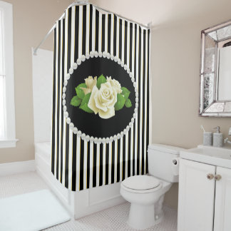 Cortina Para Chuveiro Pérolas listradas pretas elegantes & rosas brancos