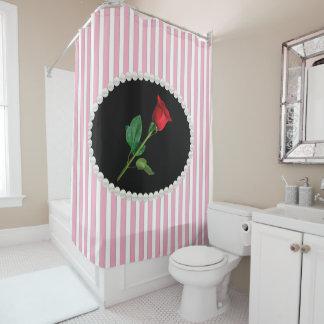 Cortina Para Chuveiro Pérolas & rosa vermelha listradas cor-de-rosa