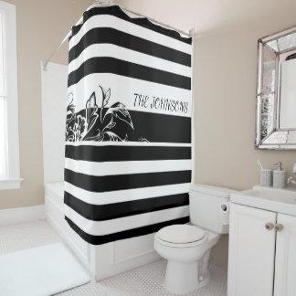 Cortina Para Chuveiro Personalize a cortina de chá preta do monograma da